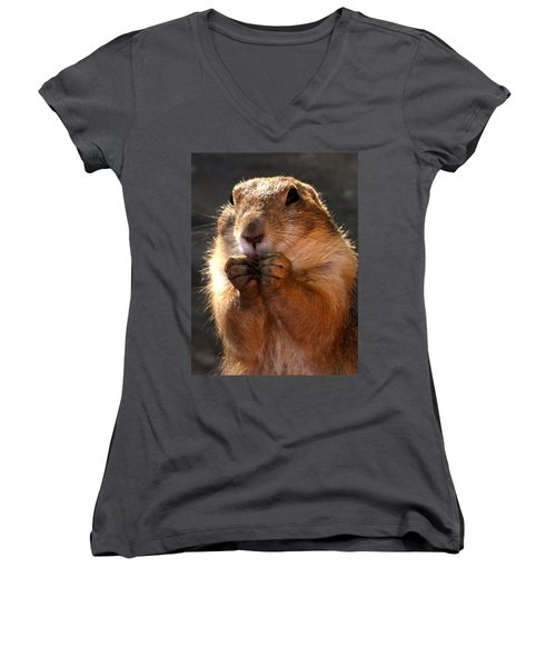Snacking Prairie Dog Women's V-Neck (Athletic Fit)