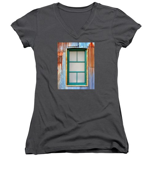 Nonwindow Surrounded By Color Women's V-Neck T-Shirt (Junior Cut) by Gary Slawsky