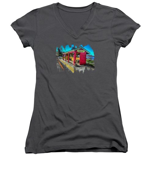 Women's V-Neck T-Shirt (Junior Cut) featuring the photograph Norm Laknes Train Station by Thom Zehrfeld