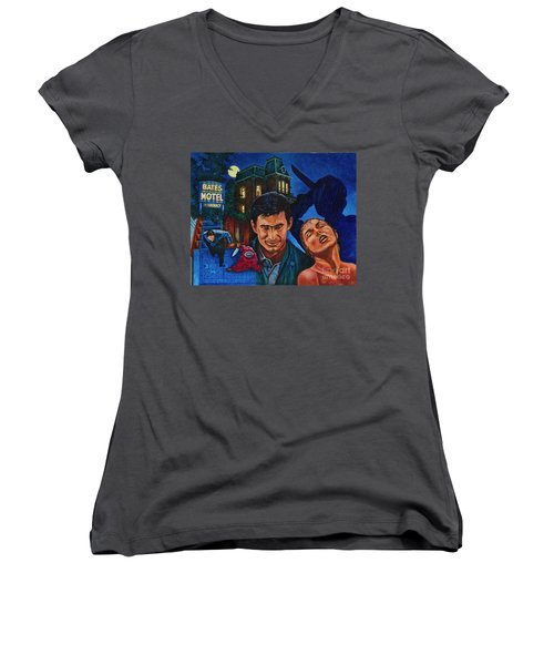 Women's V-Neck T-Shirt (Junior Cut) featuring the painting Norman by Michael Frank