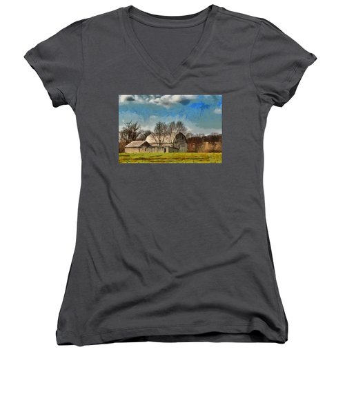 Women's V-Neck T-Shirt (Junior Cut) featuring the mixed media Norman's Homestead by Trish Tritz