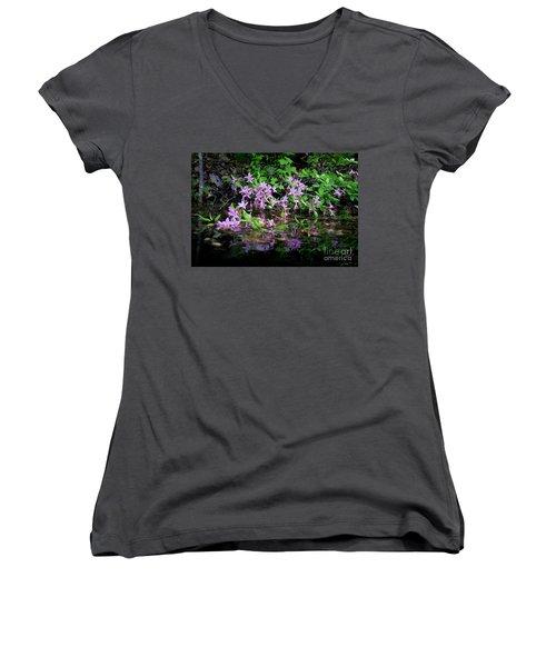 Norris Lake Floral 2 Women's V-Neck T-Shirt (Junior Cut) by Douglas Stucky