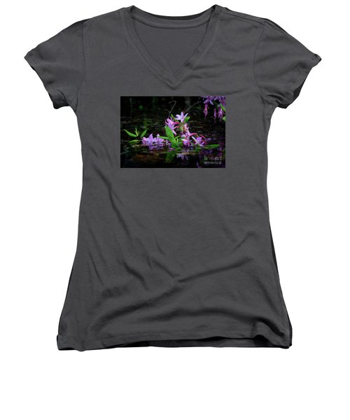 Norris Lake Floral Women's V-Neck T-Shirt (Junior Cut) by Douglas Stucky