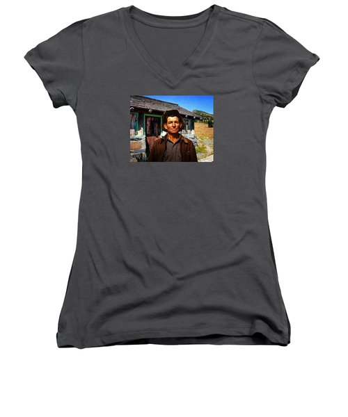 Norris' New Digs Women's V-Neck T-Shirt (Junior Cut) by Timothy Bulone