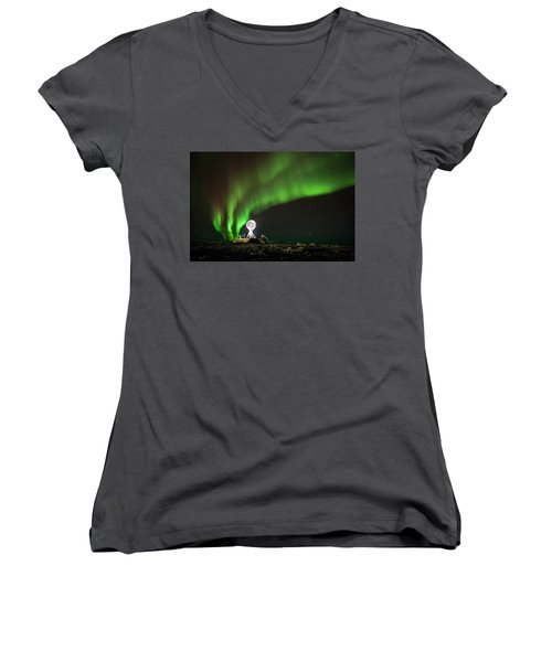 Norrsken Women's V-Neck T-Shirt (Junior Cut) by Thomas M Pikolin