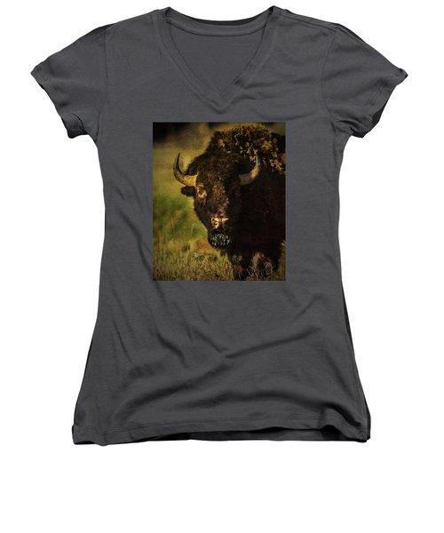 North American Buffalo Women's V-Neck (Athletic Fit)