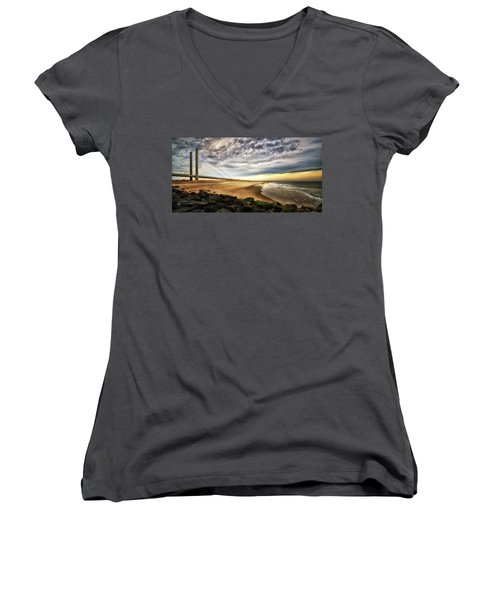 North Beach At Indian River Inlet Women's V-Neck (Athletic Fit)