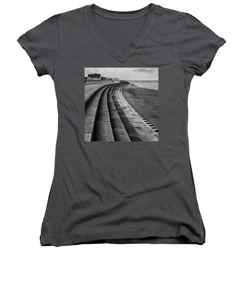 North Beach, Heacham, Norfolk, England Women's V-Neck T-Shirt (Junior Cut) by John Edwards
