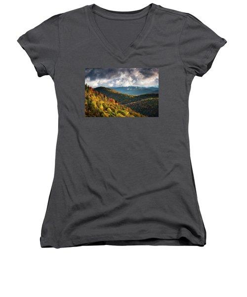 North Carolina Mountains Asheville Nc Autumn Sunrise Women's V-Neck (Athletic Fit)