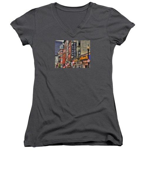 North End Charm 11x14 Women's V-Neck T-Shirt (Junior Cut) by Joann Vitali