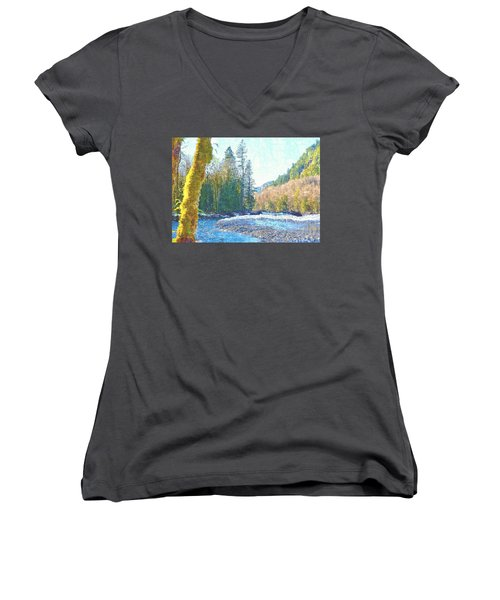 North Fork Of The Skykomish River Women's V-Neck T-Shirt (Junior Cut) by Tobeimean Peter