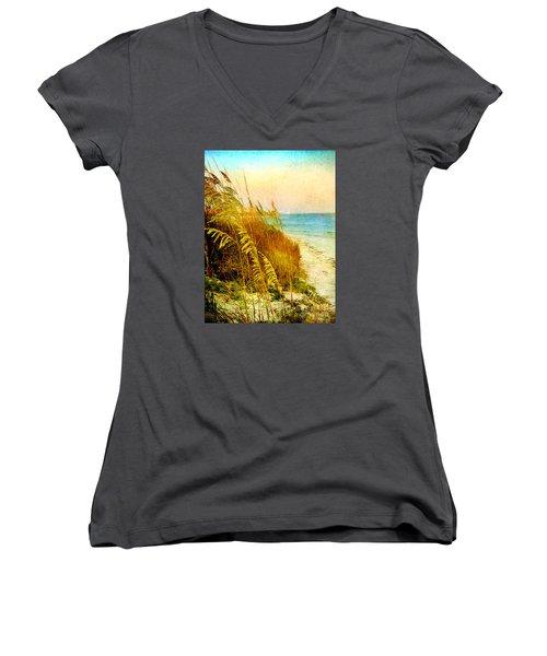 Women's V-Neck T-Shirt (Junior Cut) featuring the digital art North Of River by Linda Olsen