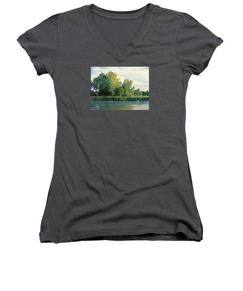 North Of The Grade-great Egret Women's V-Neck T-Shirt (Junior Cut) by Bruce Morrison