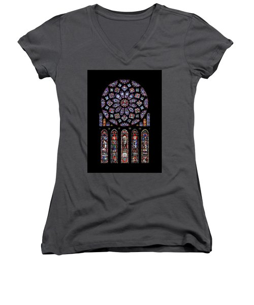 North Rose Window Of Chartres Cathedral Women's V-Neck (Athletic Fit)