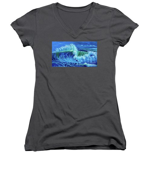 North Shore Wave Hawaii Jenny Lee Discount Women's V-Neck (Athletic Fit)