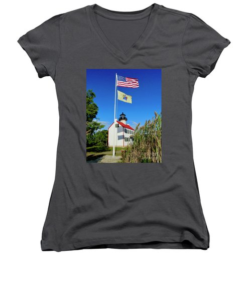 North Wind At East Point Light Women's V-Neck T-Shirt