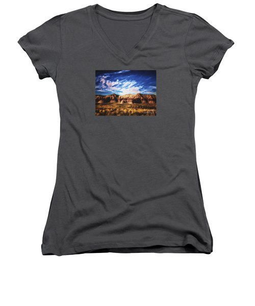 Women's V-Neck T-Shirt (Junior Cut) featuring the photograph Northern Arizona Painted Desert  ... by Chuck Caramella