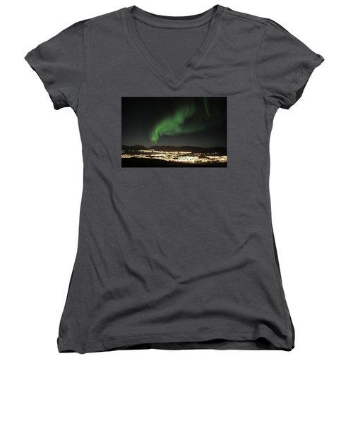 Northern Light In Troms, North Of Norway Women's V-Neck T-Shirt (Junior Cut) by Tamara Sushko