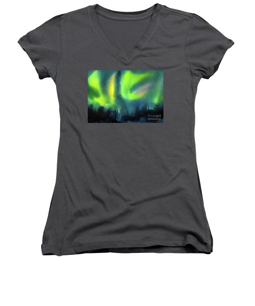 Women's V-Neck T-Shirt (Junior Cut) featuring the painting Northern Lights 3 by Kathy Braud
