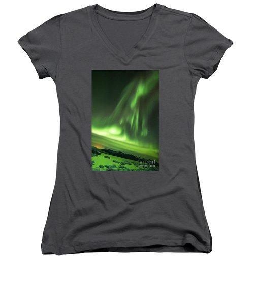 Women's V-Neck T-Shirt (Junior Cut) featuring the photograph Northern Lights 5 by Mariusz Czajkowski