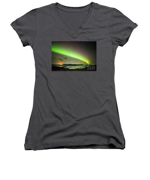 Women's V-Neck T-Shirt (Junior Cut) featuring the photograph Northern Lights 6 by Mariusz Czajkowski