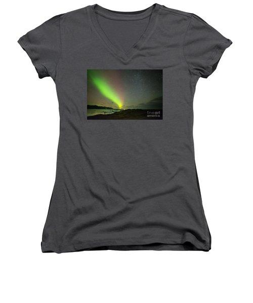 Women's V-Neck T-Shirt (Junior Cut) featuring the photograph Northern Lights 7 by Mariusz Czajkowski