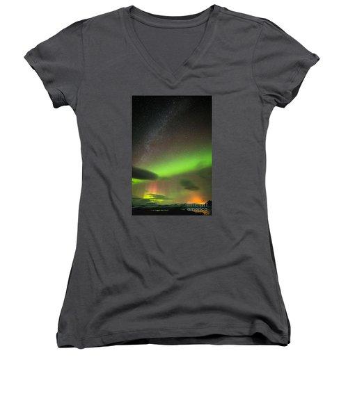 Women's V-Neck T-Shirt (Junior Cut) featuring the photograph Northern Lights 8 by Mariusz Czajkowski