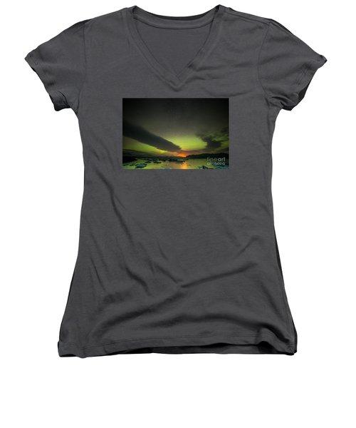 Women's V-Neck T-Shirt (Junior Cut) featuring the photograph Northern Lights  by Mariusz Czajkowski