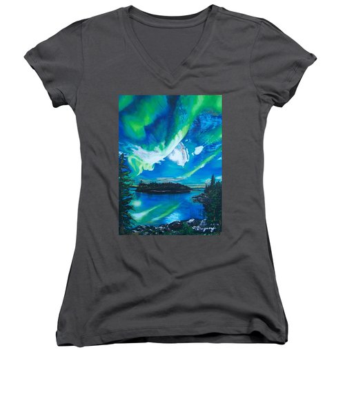 Northern Lights  Women's V-Neck T-Shirt (Junior Cut) by Sharon Duguay