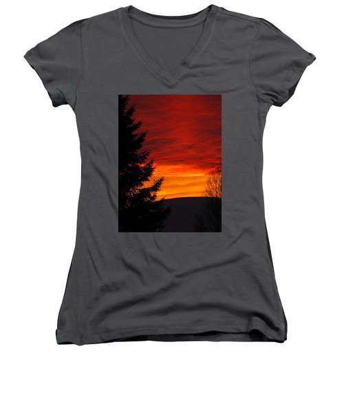 Northern Sunset 2 Women's V-Neck (Athletic Fit)