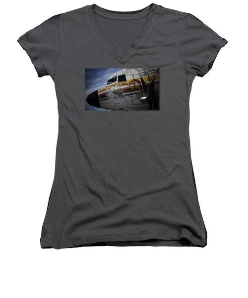 Nose Art Women's V-Neck T-Shirt (Junior Cut) by Michael Nowotny