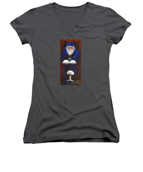 Women's V-Neck T-Shirt (Junior Cut) featuring the painting Nostradamus by Arturas Slapsys
