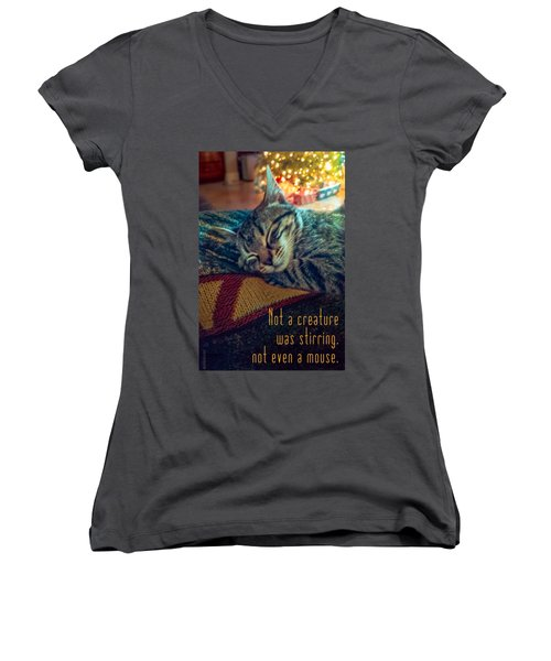 Not A Creature Was Stirring Women's V-Neck T-Shirt (Junior Cut) by Debbie Karnes