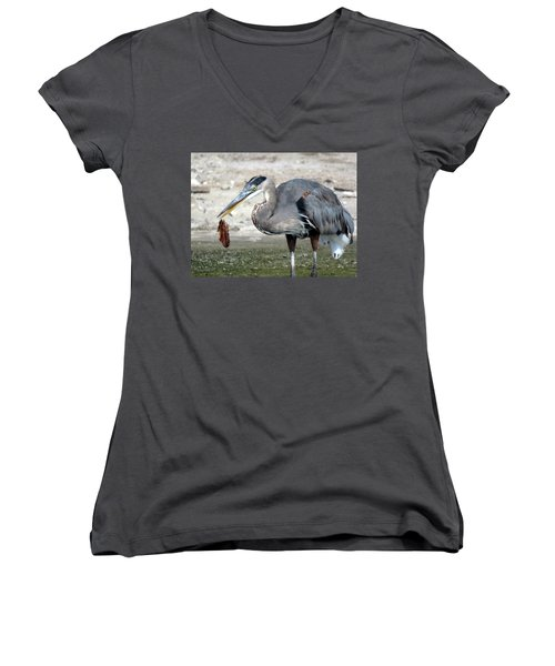 Women's V-Neck T-Shirt (Junior Cut) featuring the photograph Not A Fish by Phyllis Beiser