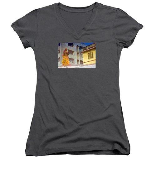 Not Sure Women's V-Neck T-Shirt (Junior Cut) by Prakash Ghai