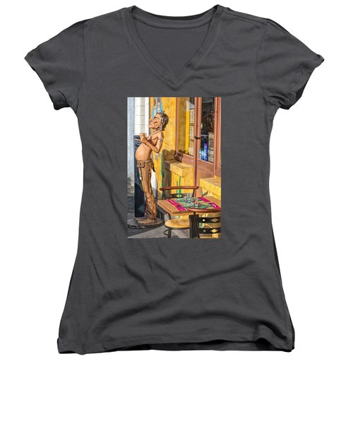 Women's V-Neck T-Shirt featuring the photograph Not The Typical Franch Restaurant by Elf Evans