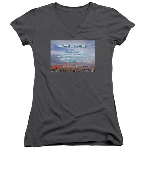 Not Welcome Here Women's V-Neck (Athletic Fit)