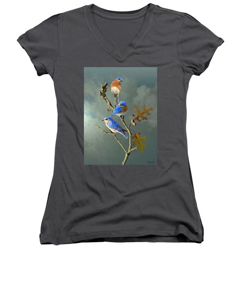 Nothing But Bluebirds Women's V-Neck (Athletic Fit)