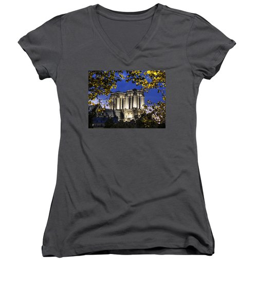 Notre Dame At Night Paris Women's V-Neck T-Shirt (Junior Cut) by Sally Ross