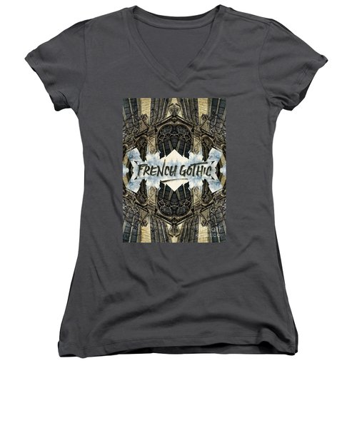 Notre-dame Cathedral French Gothic Architecture Paris France Women's V-Neck