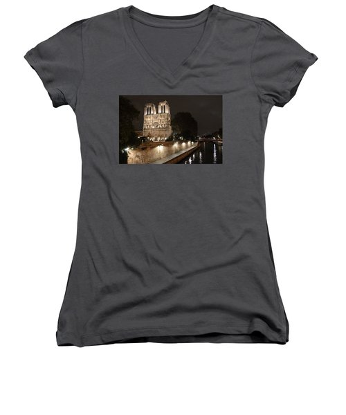 Women's V-Neck T-Shirt (Junior Cut) featuring the photograph Notre Dame Cathedral From Petit Pont by Christopher Kirby