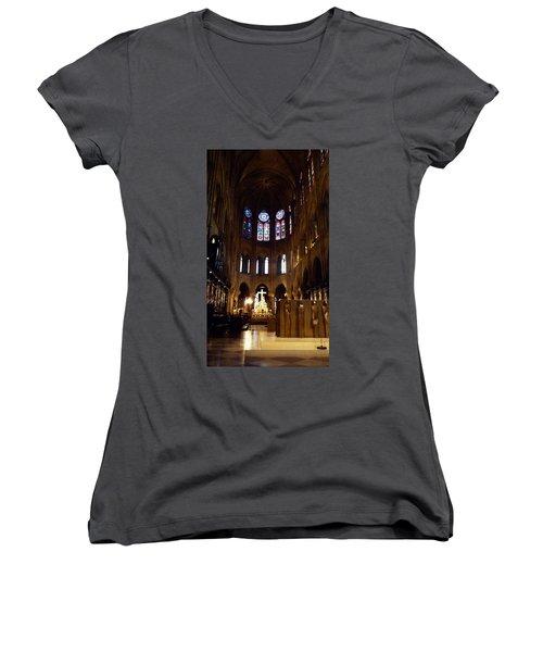 Notre Dame De Paris Women's V-Neck T-Shirt (Junior Cut) by Takaaki Yoshikawa
