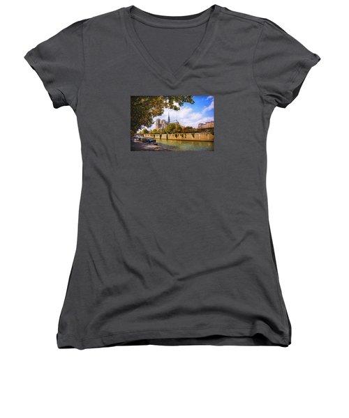 Women's V-Neck T-Shirt (Junior Cut) featuring the photograph Notre Dame by John Rivera