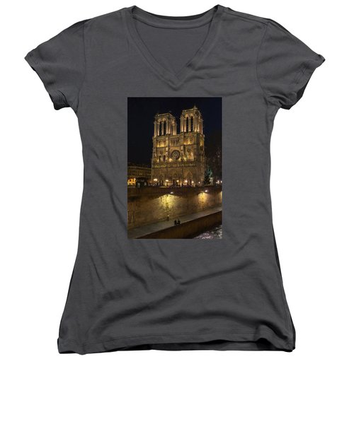 Notre Dame Night Painterly Women's V-Neck (Athletic Fit)