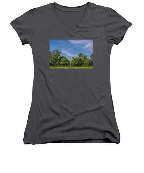 Women's V-Neck T-Shirt (Junior Cut) featuring the photograph Notre Dame University 6 by David Haskett