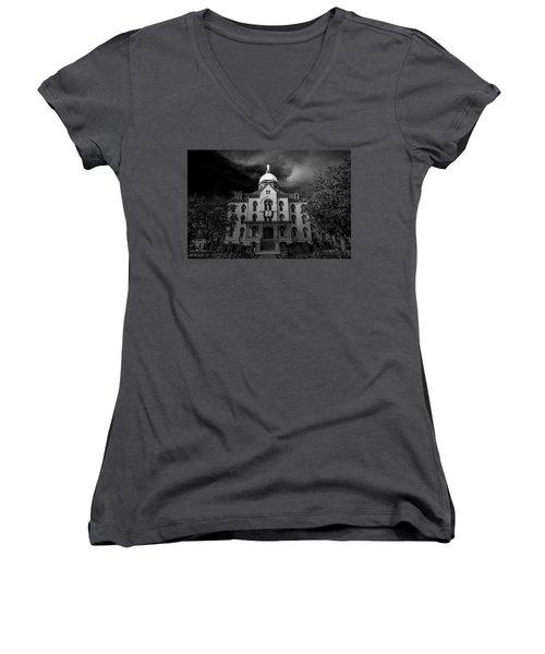 Women's V-Neck T-Shirt (Junior Cut) featuring the photograph Notre Dame University Black White 3a by David Haskett