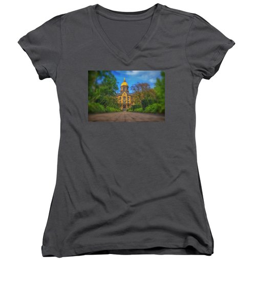 Notre Dame University Q2 Women's V-Neck T-Shirt (Junior Cut) by David Haskett