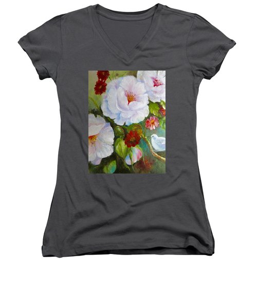 Women's V-Neck T-Shirt (Junior Cut) featuring the painting Noubliable  by Patricia Schneider Mitchell