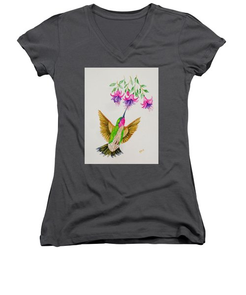Women's V-Neck T-Shirt (Junior Cut) featuring the painting Nourishment  by Katherine Young-Beck