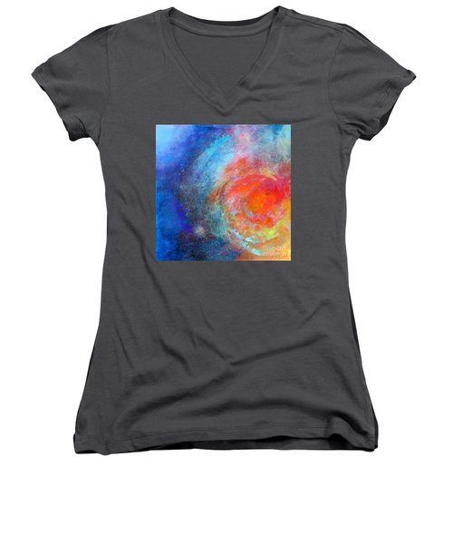 Fantasies In Space Series Painting. Nova Concerto. Acrylic Painting. Women's V-Neck (Athletic Fit)